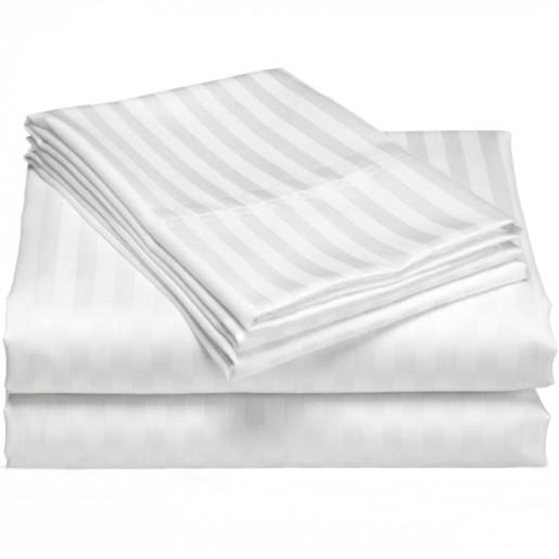 Lenjerie de pat din bumbac 100% satinat cu dunga 2cm, single