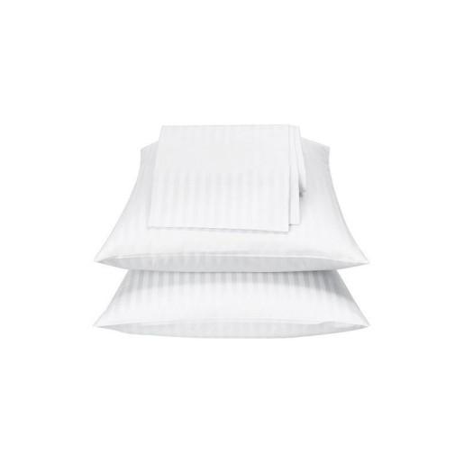 Lenjerie de pat din bumbac 100% satinat, dunga de 1.4cm, dubla