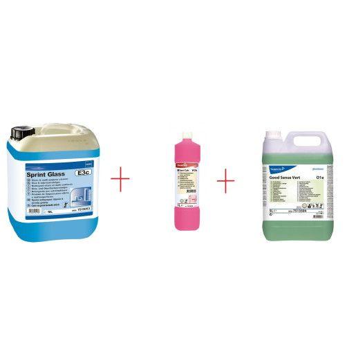 Pachet promo detergenti pentru grup sanitar, pardoseli si suprafete lavabile