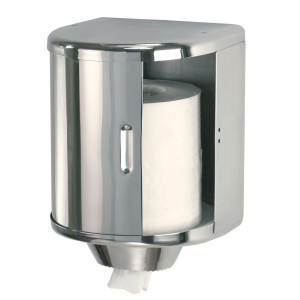 Dispenser rulou prosop (rola de hartie pozitionata vertical) din inox lucios