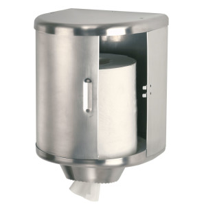 Dispenser rulou prosop (rola de hartie pozitionata vertical), deschidere usa glisantacu dispozitiv opritor - taietor dininox satinat