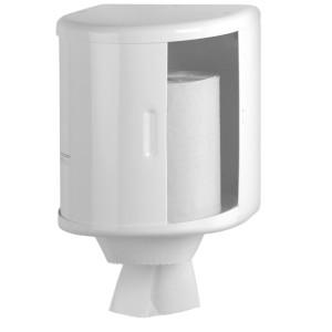 Dispenser rulou prosop (rola de hartie pozitionata vertical),  cu dispozitiv opritor - taietor din otel vopsit alb