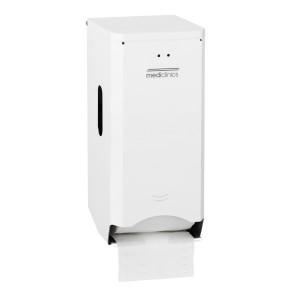 Dispenser hârtie igienică cu 2/3 role din otel alb