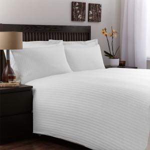 Lenjerie de pat din bumbac 100% satinat, dunga de 1.4cm, matrimoniala