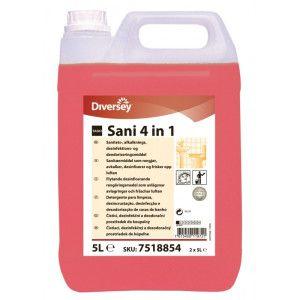 Detergent, detartrant, dezinfectant , dezodorizant profesional pentru grupuri sanitare TASKI Sani 4 in 1   5L