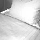 Lenjerie pat din policoton satinat cu dunga 2.5cm + 0.5cm, dubla